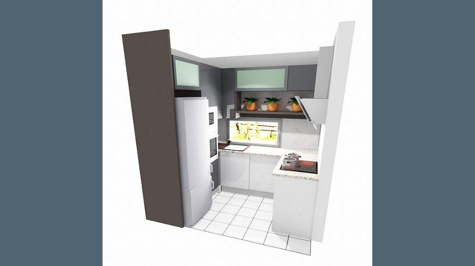 Egyedi szürke és fehér U alakú modern konyhabútor látvány