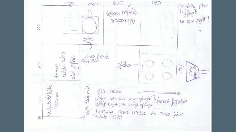Egyedi szürke és fehér U alakú modern konyhabútor skicc