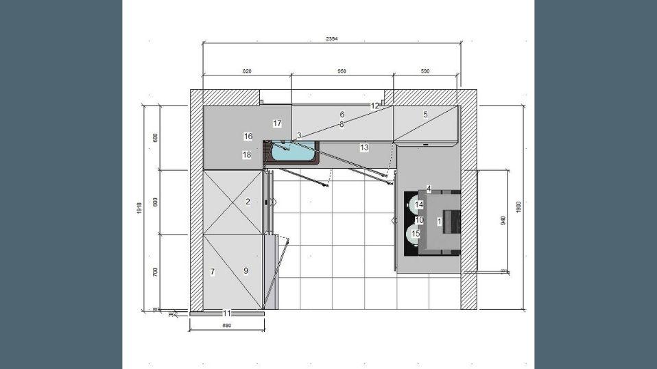 Egyedi szürke és fehér U alakú modern konyhabútor terv 1