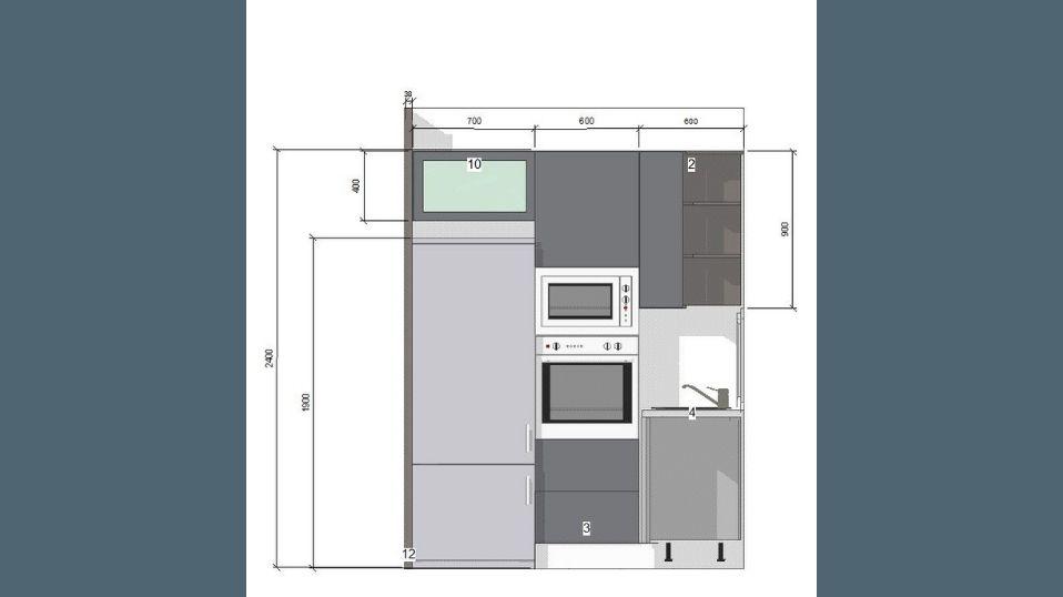 Egyedi szürke és fehér U alakú modern konyhabútor terv 2