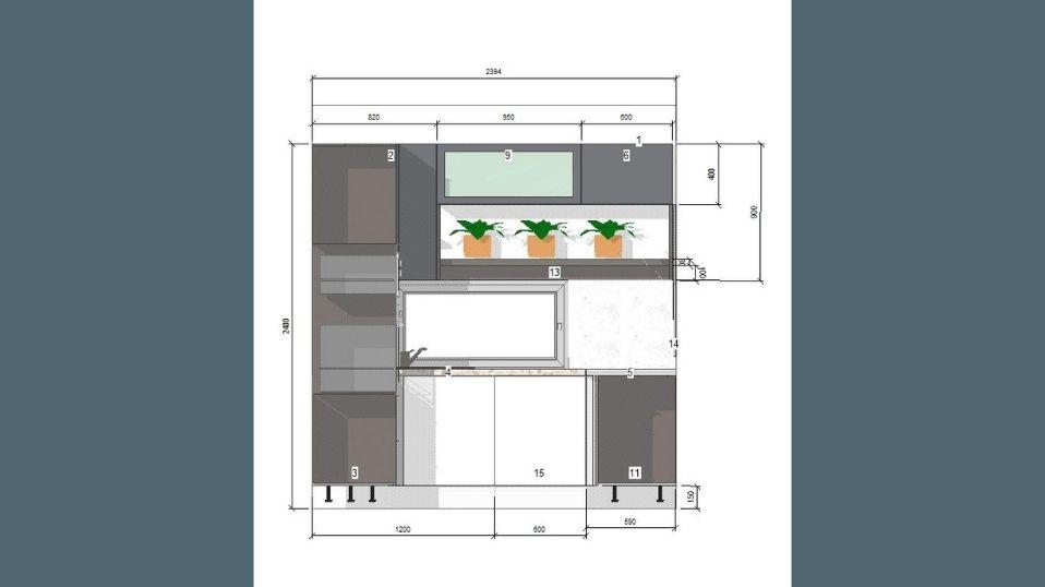 Egyedi szürke és fehér U alakú modern konyhabútor terv 3