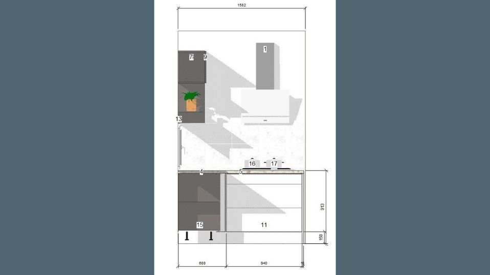 Egyedi szürke és fehér U alakú modern konyhabútor terv 4