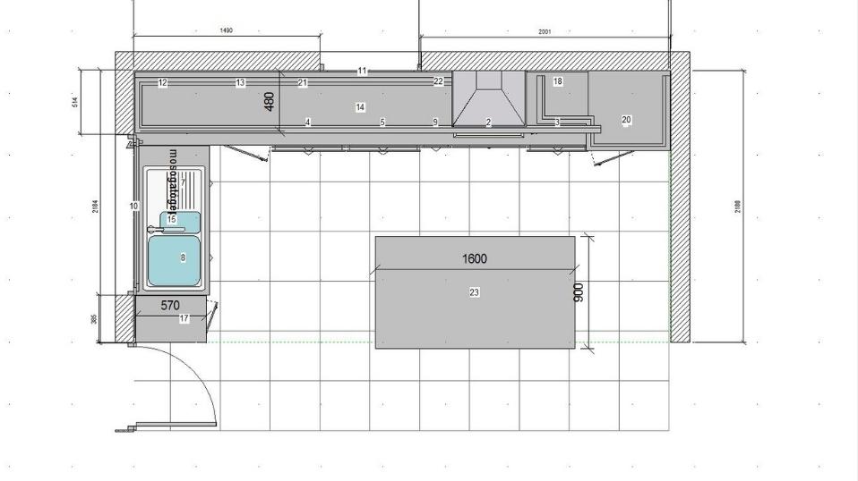 Fehér rusztikus L alakú konyhabútor - felmérés utáni terv